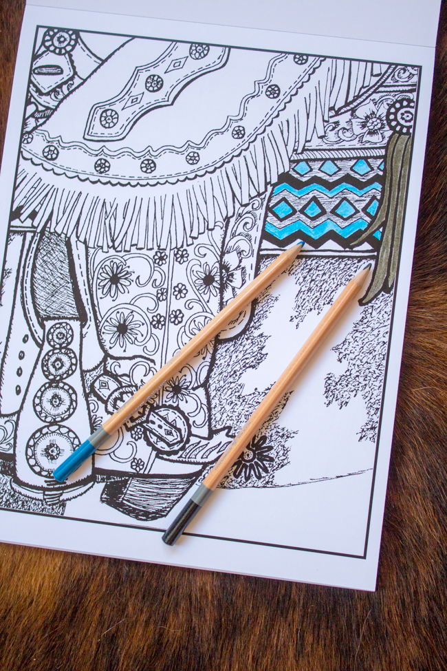 Colors Of A Cowgirl coloring book page