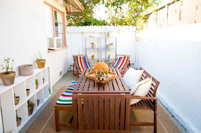 outdoor patio area in the fall