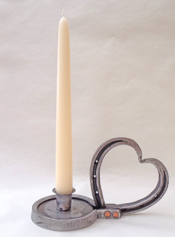 horseshoe heart candle holder
