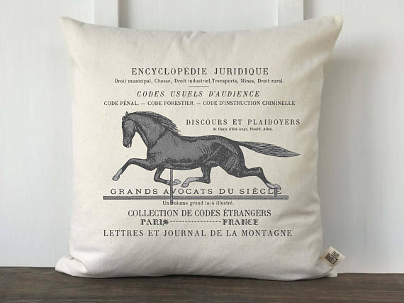 french heels with pillow farmhouse horse pillows vintage horses charm