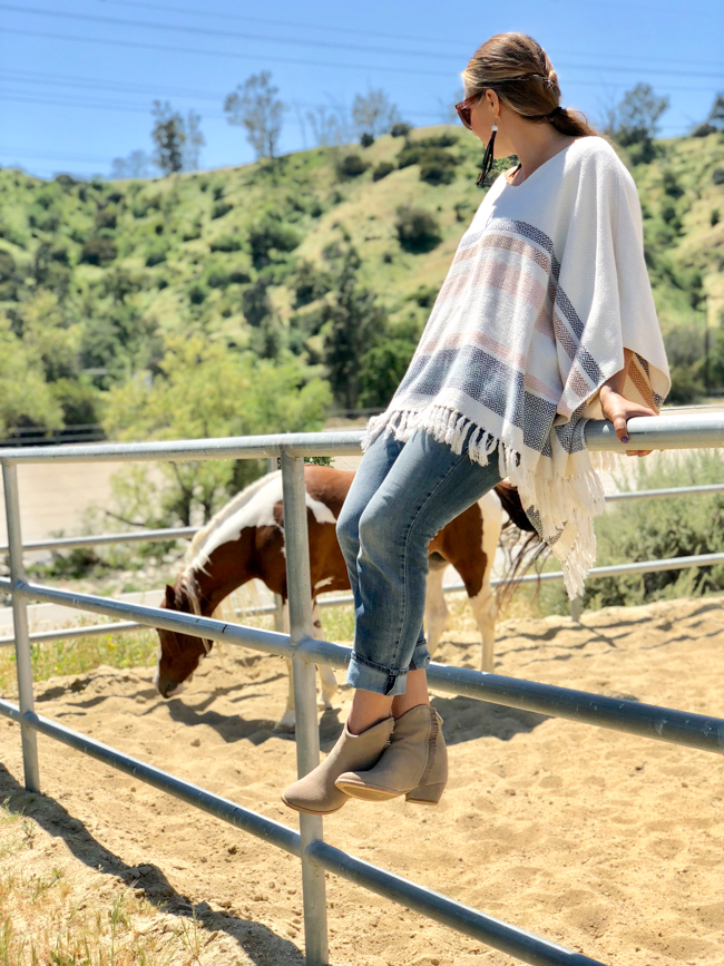 Southwest poncho and fringe booties, perfect western style