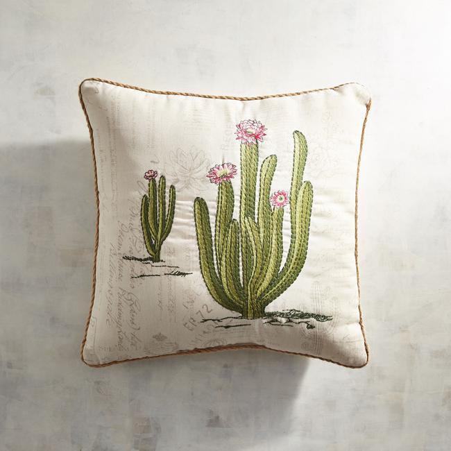 blooming cactus pillow