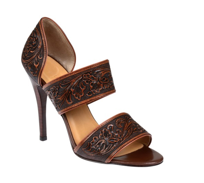 Tooled Lucchese rose leather sandal