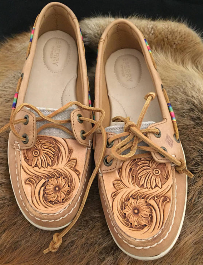 custom tooled leather topped shoes