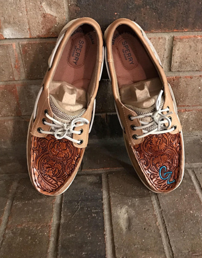 tooled leather top shoes