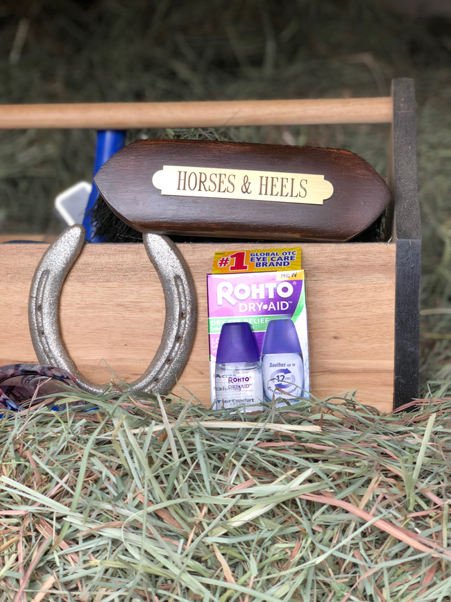 grooming tote and riding supplies